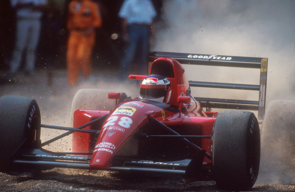 1991 Italian Grand Prix.Monza, Italy.6-8 September 1991.Jean Alesi (Ferrari 643) spins into the gravel on lap 4, after trying to overtake Patrese. He exited the race with a blown engine.Ref-91 ITA 09.World Copyright - LAT Photographic