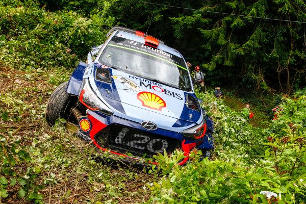 2017 FIA World Rally Championship, Round 10, Rallye Deutschland, 17-20 August, 2017, Dani Sordo, Hyundai, accident, Worldwide Copyright: McKlein/LAT