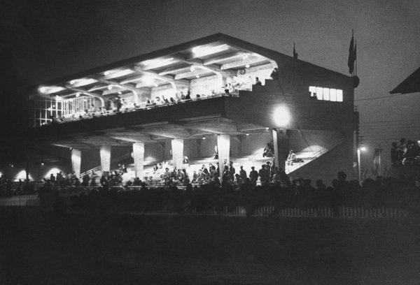 Le Mans, France. 25th - 26th June 1949.The new granstand at night, atmosphere.World Copyright: LAT Photographic.Ref: Autocar Used Pic 1st July 1949 Pg 656.