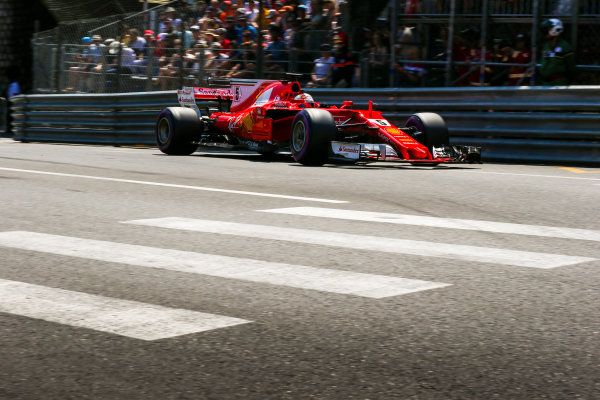 Monte Carlo, Monaco. Saturday 27 May 2017. Sebastian Vettel, Ferrari SF70H. World Copyright: Charles Coates/LAT Images ref: Digital Image AN7T6856