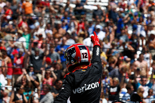 Verizon IndyCar Series Indianapolis 500 Carb Day Indianapolis Motor Speedway, Indianapolis, IN USA Friday 26 May 2017 Will Power, Team Penske Chevrolet celebrates winning the Pit Stop Competition World Copyright: Phillip Abbott LAT Images ref: Digital Image abbott_indy_0517_26890