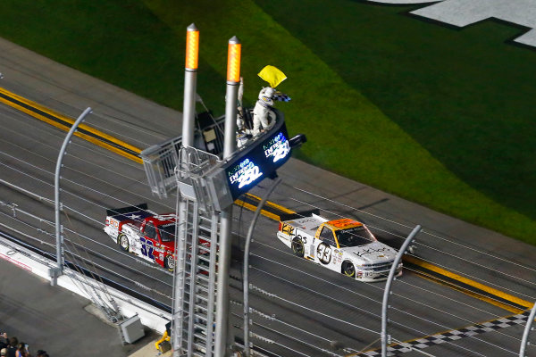 2017 Camping World Truck - NextEra Energy Resources 250 Daytona International Speedway, Daytona Beach, FL USA Friday 24 February 2017 Kaz Grala drives under the checkered flag to win World Copyright: Russell LaBounty/LAT Images ref: Digital Image 17DAY2rl_05792