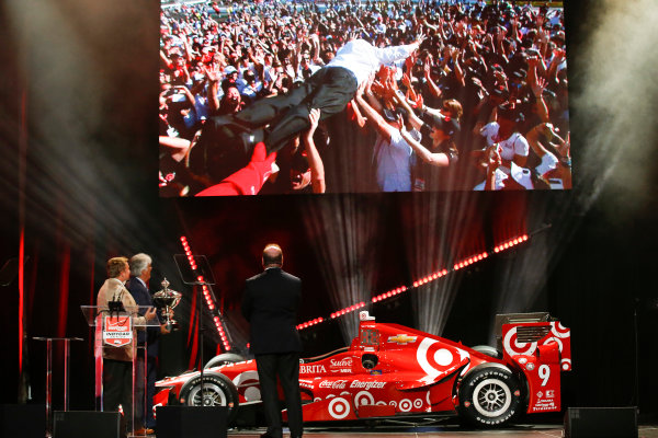 31 August, 2015, San Francisco, California, USA Chip Ganassi was treated to a video of himself crowd surfing © 2015, Michael L. Levitt LAT Photo USA