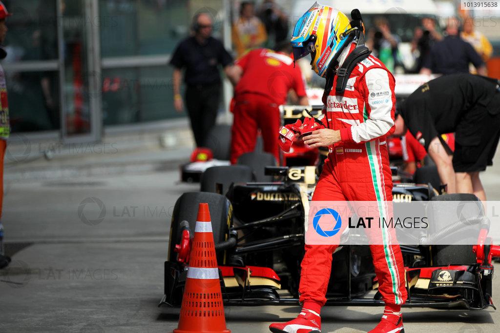 Shanghai International Circuit, Shanghai, China Saturday 13th April 2013 Fernando Alonso, Ferrari, in Parc Ferme. World Copyright: Andy Hone/LAT Photographic ref: Digital Image HONY6311