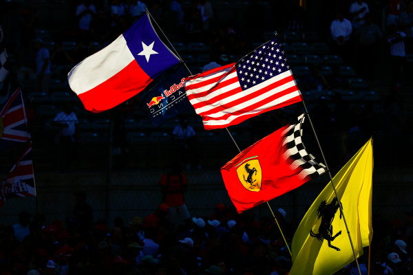Circuit of the Americas, Austin, Texas, United States of America. Sunday 22 October 2017. Texan, US, and Ferrari flags. World Copyright: Sam Bloxham/LAT Images  ref: Digital Image _W6I8512