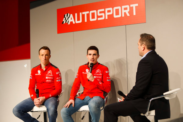 Autosport International Exhibition. National Exhibition Centre, Birmingham, UK. Friday 12th January 2018. Kris Meeke and Craig Breen of Citroen talk to Henry Hope-Frost on the Autosport Stage. World Copyright: Joe Portlock/LAT Images Ref: _U9I0471