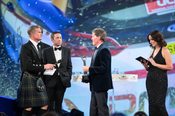 2017 Autosport Awards Grosvenor House Hotel, Park Lane, London. Sunday 3 December 2017. Malcolm Wilson accepts the Rally Car of the Year Award for the Ford Fiesta RS WRC. World Copyright: Zak Mauger/LAT Images  ref: Digital Image _O3I7043