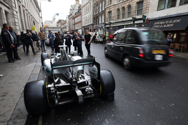 2015 British Racing Drivers Club Awards Grand Connaught Rooms, London Monday 7th December 2015 Lewis Hamilton's F1 Mercedes in the street outside the venue. World Copyright: Jakob Ebrey/LAT Photographic ref: Digital Image Mercedes-03