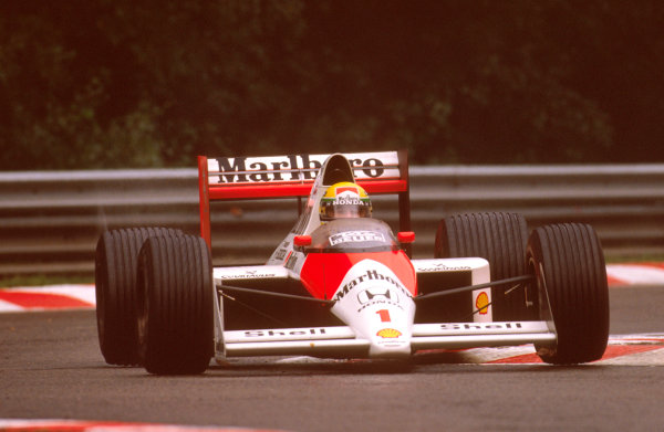 Spa-Francorchamps, Belgium.25-27 August 1989.Ayrton Senna (McLaren MP4/5 Honda) 1st position.Ref-89 BEL 04.World Copyright - LAT Photographic