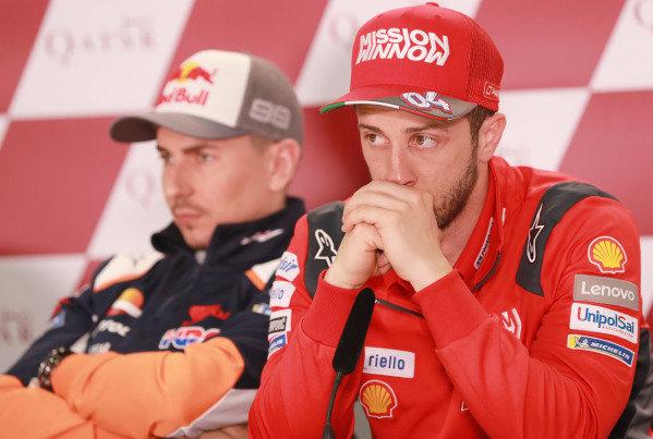 Jorge Lorenzo, Repsol Honda Team, Andrea Dovizioso, Ducati Team.