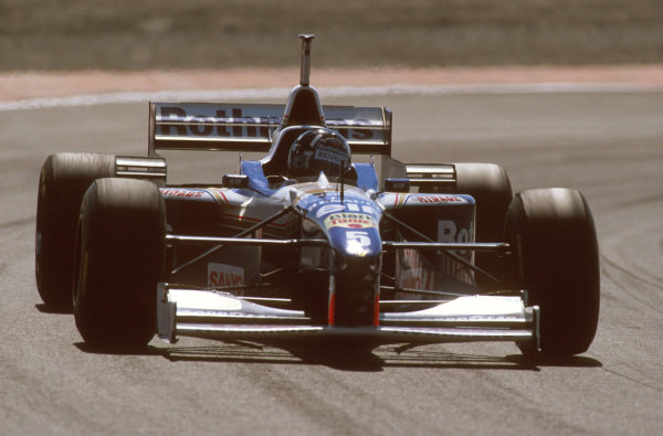 Estoril, Portugal.20-22 September 1996.Damon Hill (Williams FW18 Renault) 2nd position. Ref-96 POR 14.World Copyright - LAT Photographic