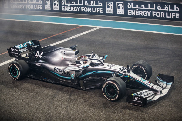 Lewis Hamilton, Mercedes AMG F1 W10, 1st position, on the grid at the end of the race
