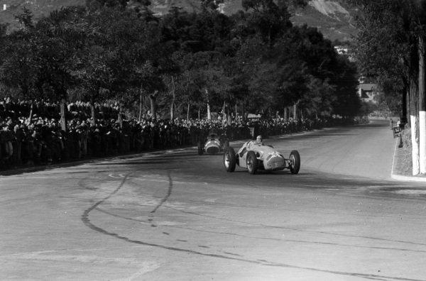 Louis Rosier, Talbot-Lago T26C-DA, leads Alberto Ascari, Ferrari 375.