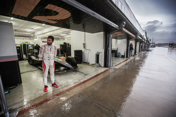 Jose Maria Lopez (ARG), GEOX Dragon Racing, Penske EV-3 watches from his garage