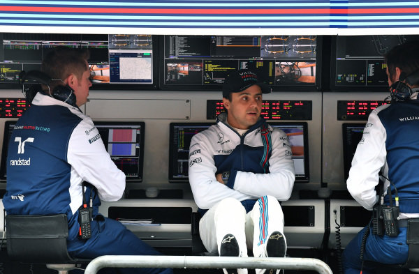 Felipe Massa (BRA) Williams on the Williams pit wall gantry at Formula One World Championship, Rd2, Chinese Grand Prix, Practice, Shanghai, China, Friday 7 April 2017.