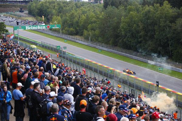 Fernando Alonso, McLaren MCL33, passes a bank of spectators.
