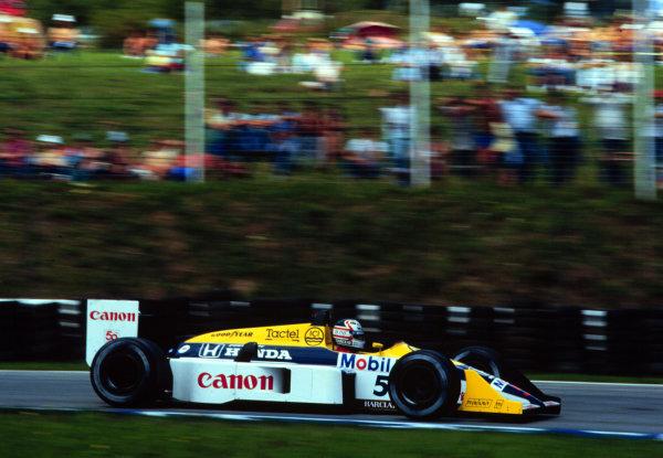 1987 Austrian Grand Prix.Osterreichring, Zeltweg, Austria.14-16 August 1987.Nigel Mansell (Williams FW11B Honda) 1st position.World Copyright - LAT Photographic