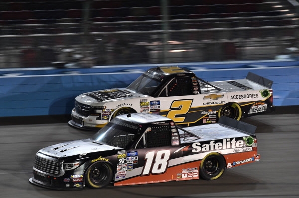 #18: Harrison Burton, Kyle Busch Motorsports, Toyota Tundra Safelite AutoGlass and #2: Sheldon Creed, GMS Racing, Chevrolet Silverado Chevrolet Accessories