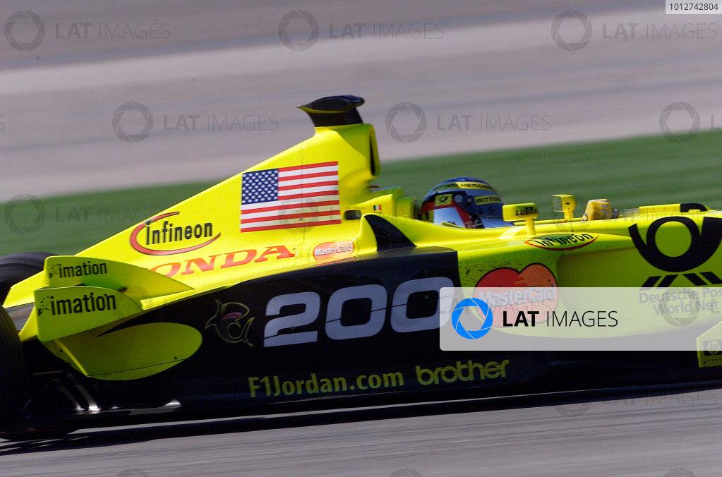 2001 American Grand Prix - RaceIndianapolis, United States. 30th September 2001.Jean Alesi, Jordan Honda EJ11, makes it 200 race starts.World Copyright: Steve Etherington/LAT Photographicref: 18mb Digital Image