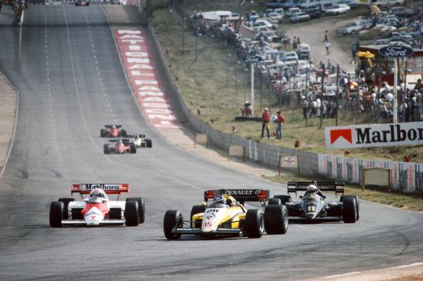 Patrick Tambay, Renault RE50, leads Alain Prost, McLaren MP4-2 TAG, and Elio de Angelis, Lotus 95T Renault.