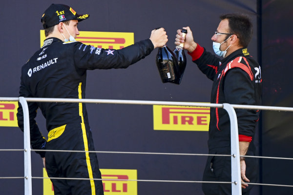 Christian Lundgaard (DNK, ART GRAND PRIX), 1st position, celebrates with his team mate on the podium
