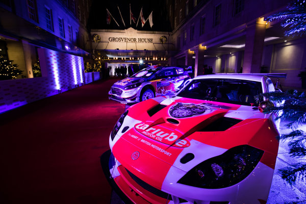 2017 Autosport Awards Grosvenor House Hotel, Park Lane, London. Sunday 3 December 2017. A Ginetta and Ford WRC car on display. World Copyright: Zak Mauger/LAT Images  ref: Digital Image _56I0203
