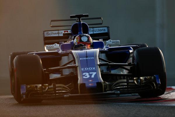 Yas Marina Circuit, Abu Dhabi, United Arab Emirates. Wednesday 29 November 2017. Charles Leclerc, Sauber C36 Ferrari.  World Copyright: Zak Mauger/LAT Images  ref: Digital Image _56I6834