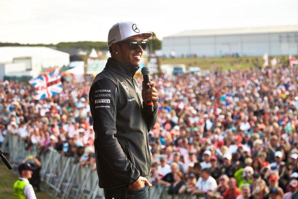 Silverstone, Northamptonshire, England. Sunday 6 July 2014. Lewis Hamilton, Mercedes AMG. World Copyright: Steve Etherington/LAT Photographic. ref: Digital Image SNE20564