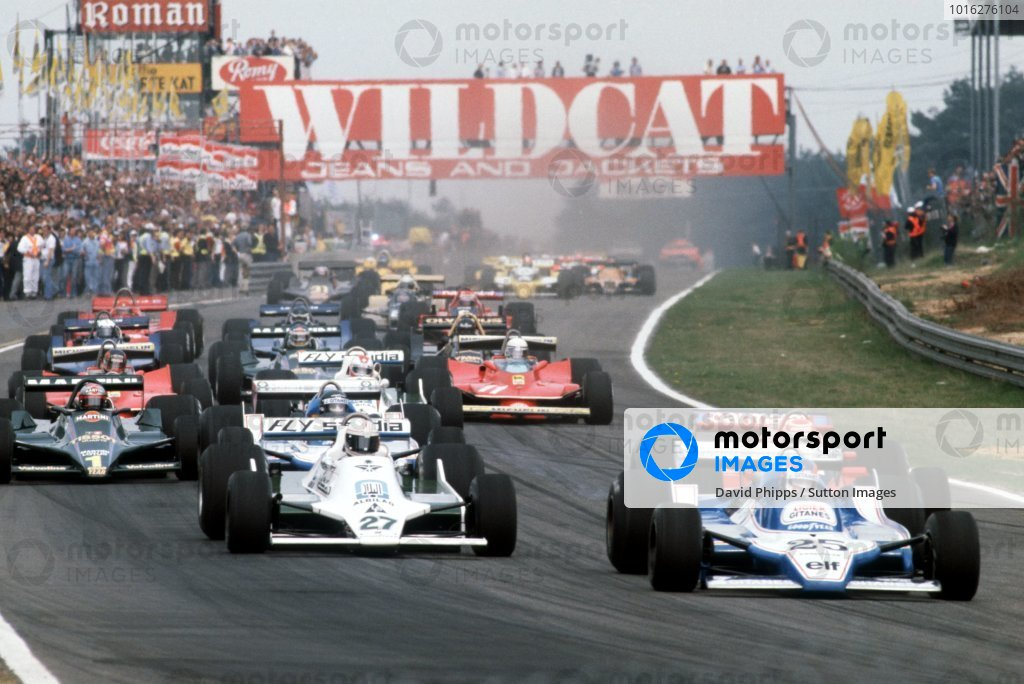 Patrick Depailler (FRA) Ligier JS11, who crashed out from the lead of the race on lap 47, leads the field at the start of the race. Belgian Grand Prix, Rd 6, Zolder, Belgium, 13 May 1979. BEST IMAGE