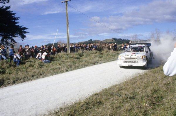 1986 World Rally Championship.New Zealand Rally, New Zealand. 5-8 July 1986.Juha Kankkunen/Juha Piironen (Peugeot 205 T16 E2), 1st position.World Copyright: LAT PhotographicRef: 35mm transparency 86RALLY06