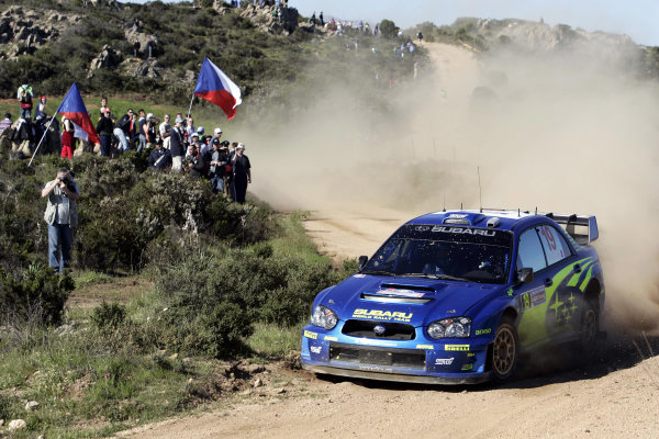 2005 World Rally ChampionshipRallye d'Italia, Sardinia, Italy. 29th April - 1st May 2005Stephane Sarrazin (Subaru Impreza WRC 05), action.World Copyright: McKlein/LAT Photographicref: Digital Image Only