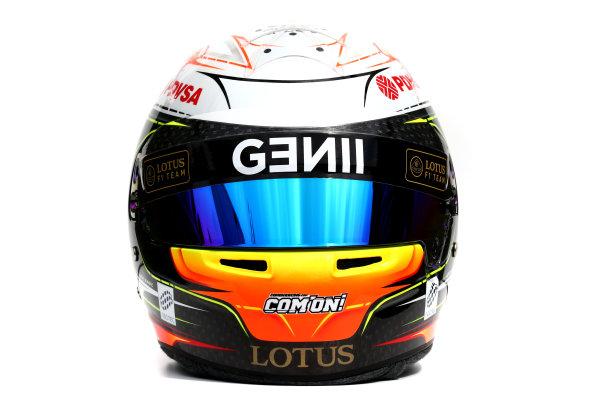 Albert Park, Melbourne, Australia. Helmet of Romain Grosjean, Lotus F1.  Thursday 12 March 2015. World Copyright: LAT Photographic. ref: Digital Image 2015_Helmet_032