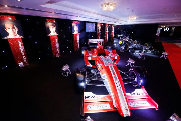 2014 Autosport Awards. Grosvenor House Hotel, Park Lane, London. Sunday 7 December 2014. McLaren F1 car and MSV Formula 2 car. World Copyright: Sam Bloxham/LAT Photographic. ref: Digital Image _14P3462
