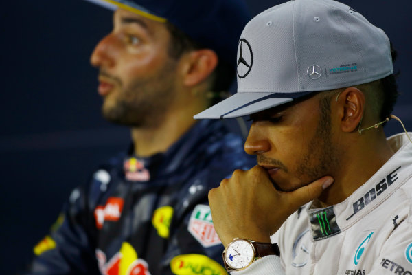 Hockenheim, Germany. Sunday 31 July 2016. Lewis Hamilton, Mercedes AMG, 1st Position, and Daniel Ricciardo, Red Bull Racing, 2nd Position, in the Press Conference. World Copyright: Hone/LAT Photographic ref: Digital Image _ONY1439