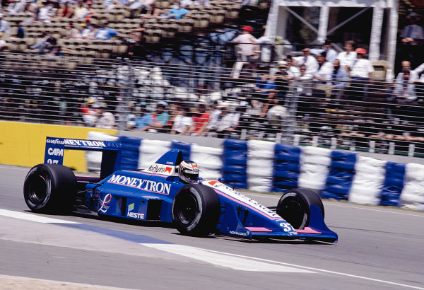 1989 Australian Grand Prix.Adelaide, Australia.3-5 November 1989.J J. Lehto (Onyx ORE-1 Ford) .Ref-89 AUS 42.World Copyright - LAT Photographic
