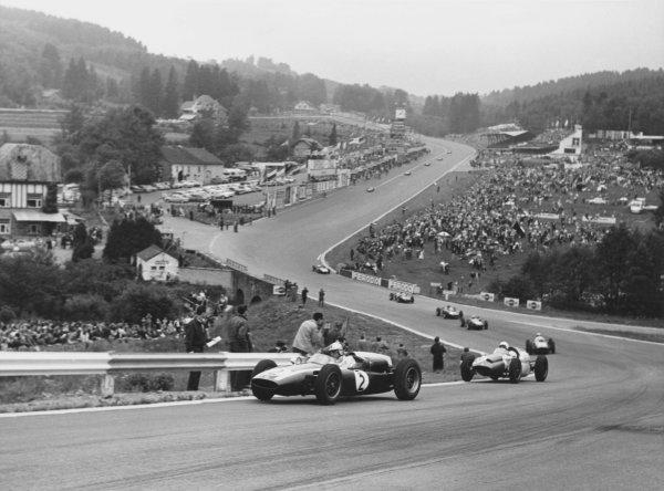 1960 Belgian Grand Prix.Spa-Francorchamps, Belgium. 19 June 1960.Jack Brabham (Cooper T53-Climax), 1st position, leads through L'Eau Rouge on the second lap.World Copyright LAT Photographic