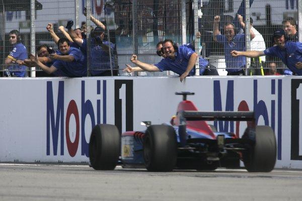 2006 GP2 Series Round 8. Hockenheim, Germany. 30th July 2006. Sunday race. Timo Glock (GER, iSport International) wins the race. Action. World Copyright: Charles Coates/GP2 Series Media Service. Ref: Digital Image Only.MB5C0113 jpg