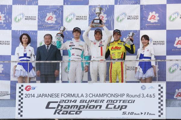 2014 All-Japan F3 Championship Motegi, Japan. 10th - 11th May 2014. Rd 2. Race 1. Winner Nobuharu Matsushita ( #7 HFDP RACING ) 2nd position Kenta Yamashita ( #36 PETRONAS TEAM TOM'S ) 3rd position Mitsunori Takaboshi ( #22 B-MAX Racing Team with NDDP ) podium, portrait. World Copyright: Yasushi Ishihara / LAT Photographic. Ref: 2014JF3_Rd3-5_005.JPG