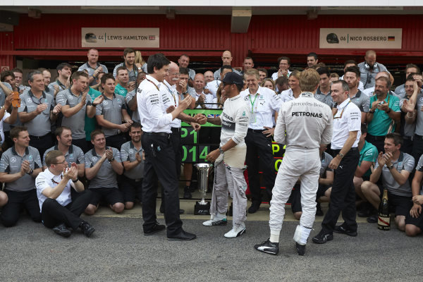 Circuit de Catalunya, Barcelona, Spain. Sunday 11 May 2014. Toto Wolff, Executive Director (Business), Mercedes AMG, Dr Dieter Zetsche, CEO, Mercedes Benz, Lewis Hamilton, Mercedes AMG, 1st Position, Nico Rosberg, Mercedes AMG, 2nd Position, and the Mercedes AMG team celebrate a perfect weekend. World Copyright: Steve EtheringtonLAT Photographic. ref: Digital Image SNE25397 copy