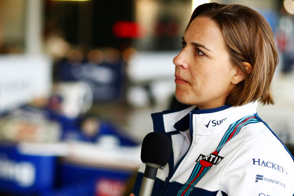 Williams 40 Event Silverstone, Northants, UK Friday 2 June 2017. Claire Williams is interviewed by the media. World Copyright: Sam Bloxham/LAT Images ref: Digital Image _J6I7167