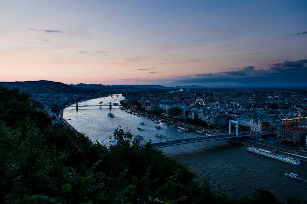 Hungaroring, Budapest, Hungary. Monday 5 June 2017. A view of the city at dusk. World Copyright: Zak Mauger/LAT Images ref: Digital Image _56I0558