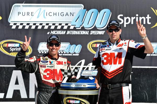 August 17-19, 2012, Brooklyn, Michigan , USAGreg Biffle and Matt Puccia in Victory Lane(c) 2012, LAT SouthLAT Photo USA