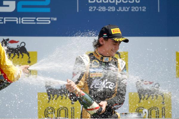 Hungaroring, Budapest, Hungary. 29th July 2012.Sunday Race.Esteban Gutierrez (MEX, Lotus GP) celebrates his victory on the podium. World Copyright: Andrew Ferraro/GP2 Media Serviceref: Digital Image _Q0C5881.jpg