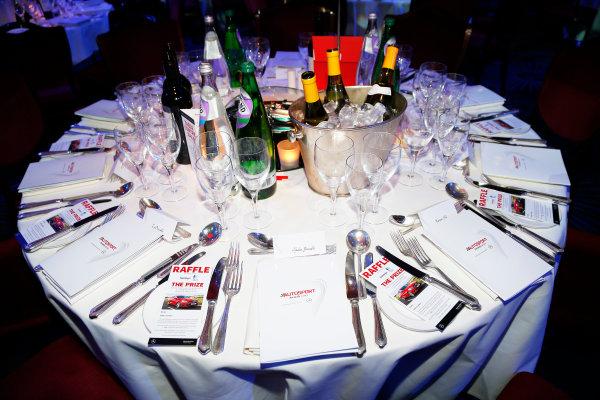 2015 Autosport Awards. Grosvenor House Hotel, Park Lane, London. Sunday 6 December 2015. Martin Brundle's table. World Copyright: Adam Warner/LAT Photographic. ref: Digital Image _L5R8909