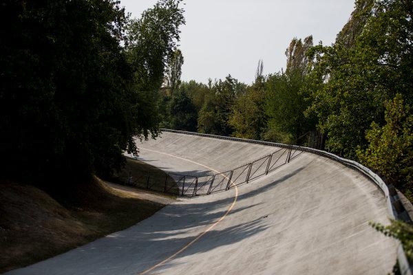 2017 FIA Formula 2 Round 9. Autodromo Nazionale di Monza, Monza, Italy. Thursday 31 August 2017. The old Monza banking. Photo: Zak Mauger/FIA Formula 2. ref: Digital Image _54I4880
