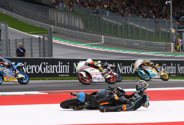 2017 Moto3 Championship - Round 11 Spielberg, Austria Sunday 13 August 2017 Crash, Andrea Migno, Sky Racing Team VR46 World Copyright: Gold and Goose / LAT Images ref: Digital Image 687211