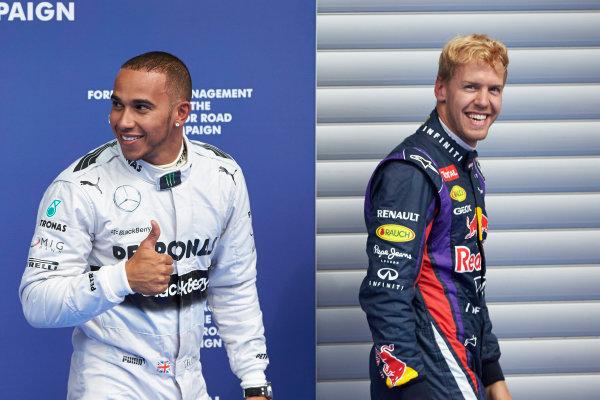 Spa-Francorchamps, Spa, Belgium. 24th August 2013. Front row starters Lewis Hamilton, Mercedes AMG, and Sebastian Vettel, Red Bull Racing. World Copyright: Steve Etherington/LAT Photographic. ref: Digital Image SNE23387 copy.