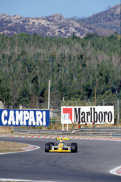 Estoril, Portugal. 22 - 24 September 1989.Pierluigi Martini (Minardi M189-Ford), 5th position, action. World Copyright: LAT Photographic.Ref:  Colour Transparency.