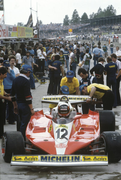 Brands Hatch, England. 14th - 16th July 1978.Gilles Villeneuve (Ferrari 312T3), retired, on the starting grid before the start of the race, action. World Copyright: LAT Photographic.Ref: 78GB33