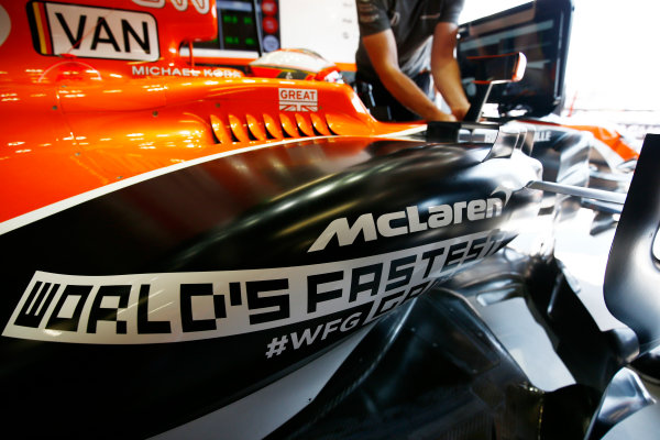 Monte Carlo, Monaco. Saturday 27 May 2017. World?s Fastest Gamer logo on the car of Stoffel Vandoorne, McLaren MCL32 Honda. World Copyright: Andy Hone/LAT Images ref: Digital Image _ONY9069